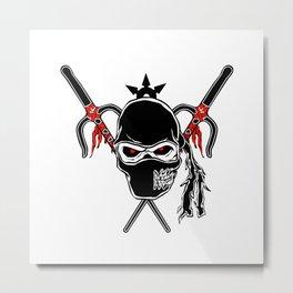 Cartoon Ninja zombie Face Metal Print