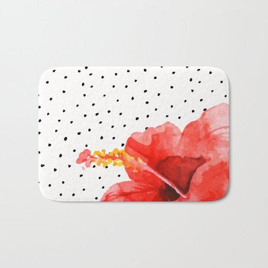 Tropical flower on dots Bath Mat