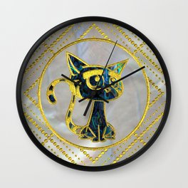 Gold Framed Cute Kitten On Mother of Pearl Wall Clock
