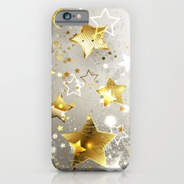 Gray Background with Gold Stars iPhone Case
