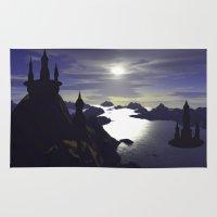 castle Area & Throw Rugs featuring castle by giancarlo lunardon