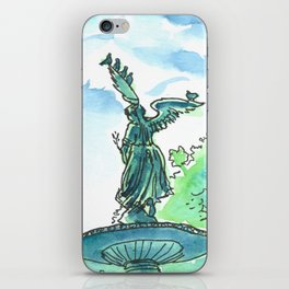 Angel of the waters - Central Park, New York iPhone Skin