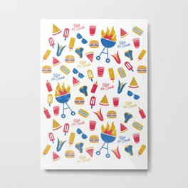 Summer BBQ Pattern - Blue Red Yellow Metal Print