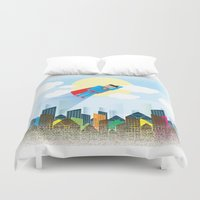 superman Duvet Covers featuring SUPERMAN by voskovski