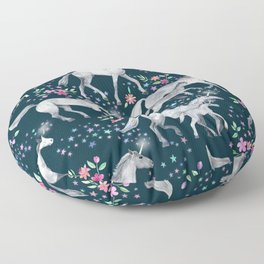Unicorns and Stars on Dark Teal Floor Pillow