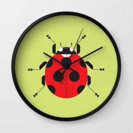 Lady Bug Yellow Wall Clock