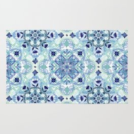 Navy Blue, Green & Cream Detailed Lace Doodle Pattern Rug