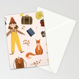 Cute character vintage stuff package Stationery Cards