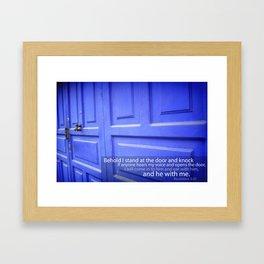Blue Door With Revelation Verse Framed Art Print
