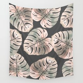 Pink leaves on grey background Wall Tapestry