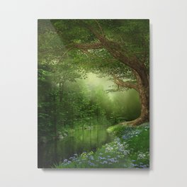 Summer Forest River Metal Print