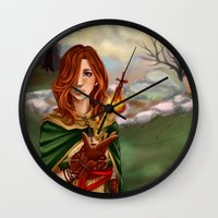 dark souls Wall Clocks featuring Dark Souls 2  - Emerald Herald by Vivid-K
