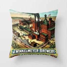 Vintage 1882 Julius Winkelmeyer Brewery St. Louis Lithograph Wall Art Advertisement Art Print Throw Pillow