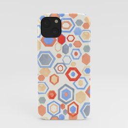 Gouache Hexagons - Pastel Reds & Blues iPhone Case