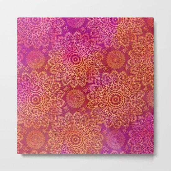 Mandala Watercolor Pattern pink orange Metal Print