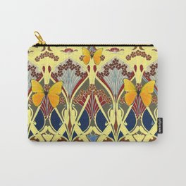 Decorative Yellow Art Nouveau Butterfly Maroon Designs Carry-All Pouch