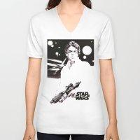 luke hemmings V-neck T-shirts featuring Luke Skywalker by Popp Art