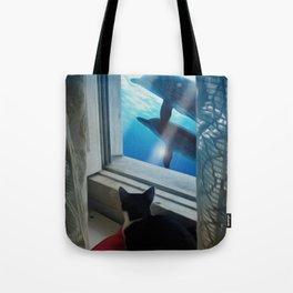 Cat Dreams - My window is the ocean Tote Bag