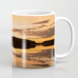 Beautiful sunset - glowing orange - forest silhouette and reflection Coffee Mug