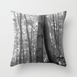 Old love, black and white photography trees Throw Pillow