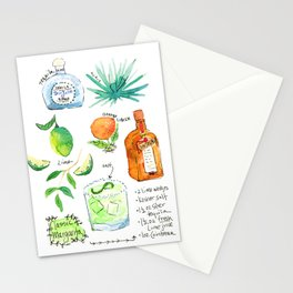 Classic Margarita Cocktail Recipe Stationery Cards