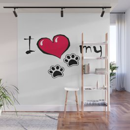 I Love my Dog Wall Mural