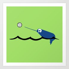 Water Polo Narwhal Art Print