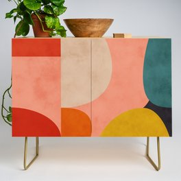 geometry shape mid century organic blush curry teal Credenza