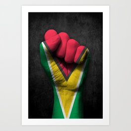 Guyanese Flag on a Raised Clenched Fist Art Print
