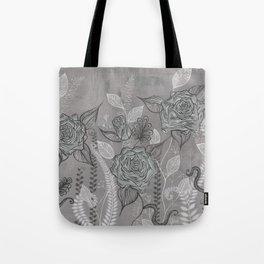 Rose Garden Black Tote Bag