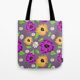 Purple and Gold Floral Tote Bag