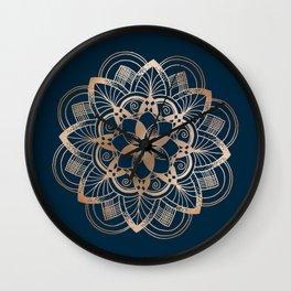 Lotus metal mandala on blue Wall Clock