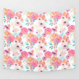 Indy Bloom Design Blush White Florals Wall Tapestry