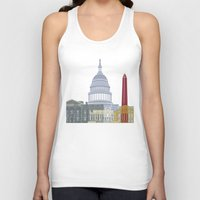 washington dc Tank Tops featuring Washington DC skyline poster by Paulrommer
