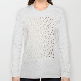 Luxe Gold Painted Polka Dot on White Long Sleeve T-shirt