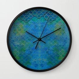 Handpainted Mermaid Dragon Scale Watercolor Wall Clock