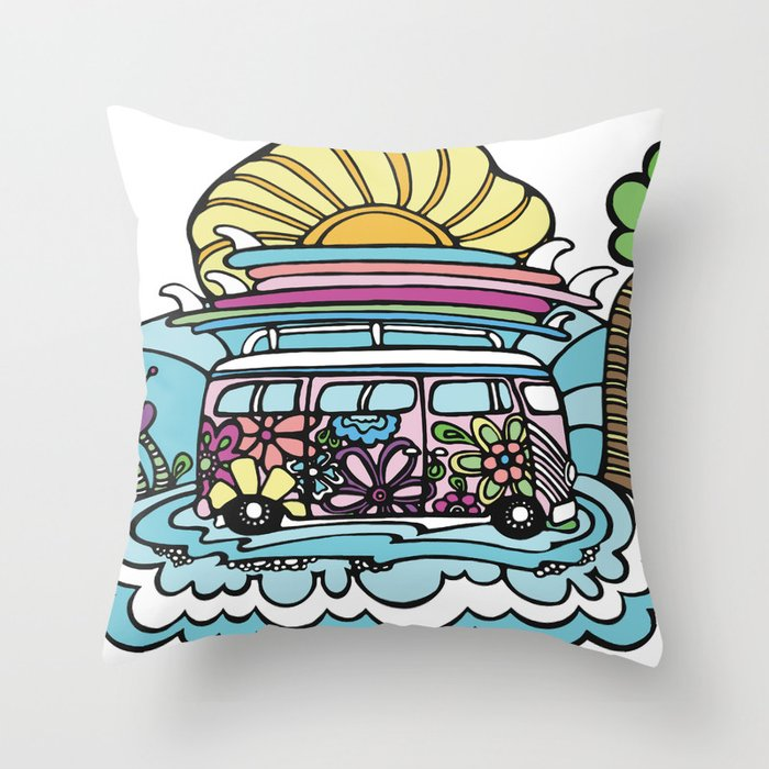 Hippie Chick Surf Bus Throw Pillow
