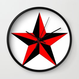 black and red nautical star Wall Clock