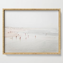 At the Beach (two) - minimal beach series by Ingrid Beddoes Serving Tray