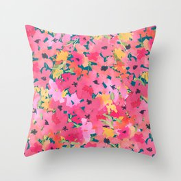 Pink and Peach Garden Throw Pillow
