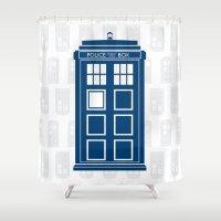 tardis Shower Curtains featuring Tardis by Rose Runser