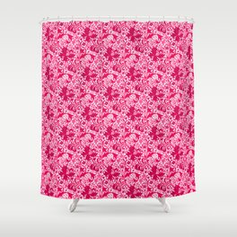 William Morris Iris and Lily, Fuchsia Pink and Burgundy Shower Curtain