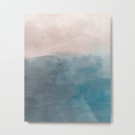 Turquoise Aqua Teal Blue Coral Rose Pink Abstract Painting, Modern Wall Art, Ocean Sunset Sand Beach Metal Print