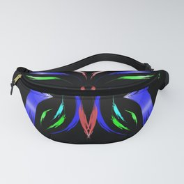 Neon Butterfly. Butterfly of colored strokes on a black background in a frame of the stars Fanny Pack