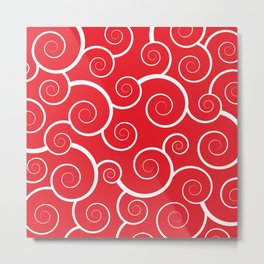 Spiral Waves (Red) Metal Print