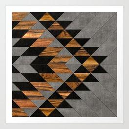 Urban Tribal Pattern 10 - Aztec - Concrete and Wood Art Print