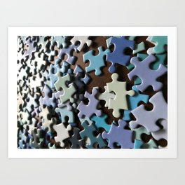 Puzzled Blue Art Print