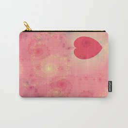 Heart Fractal Art- Abstract Art- Pink Heart- Spirals-Pattern Art- Pop Rockd- Sacred Geometry Carry-All Pouch