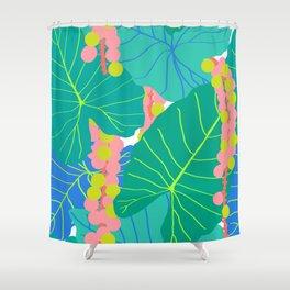 Elephant Ear Leaves + Sea Grapes Shower Curtain