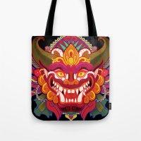 bali Tote Bags featuring Bali Mask by Aïda de Ridder